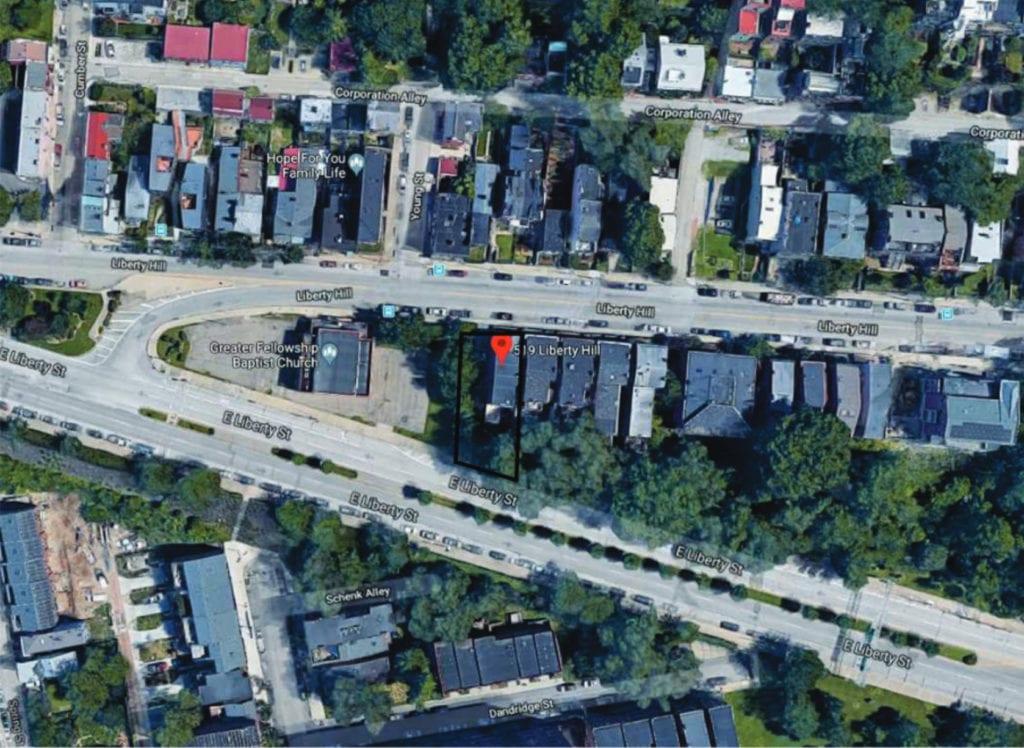 LEED project at 519 Liberty Hill Cincinnati Location Map